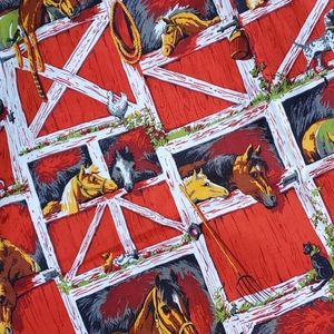 VINTAGE Horse Fabric 5 full yards!